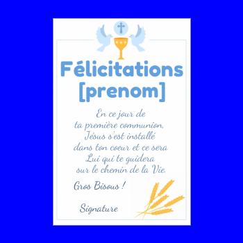 Modele De Texte Pour Felicitation Profession De Foi