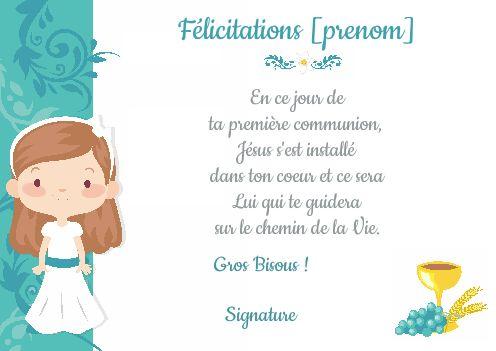Carte Felicitation Communion Fleur Fille Bleu Gratuit A Imprimer