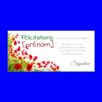 carte felicitation fleur vert rouge