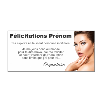 carte felicitation blanc femme