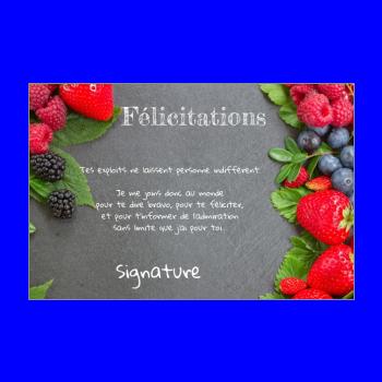 carte felicitation fruit rouge noir fraise ardoise