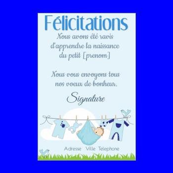 Carte De Félicitation Pour Une Naissance à Imprimer