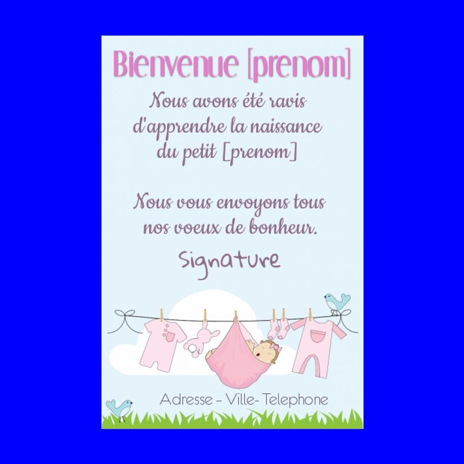 Carte Felicitation Naissance Bebe Rose Fille Gratuit A Imprimer Carte 761