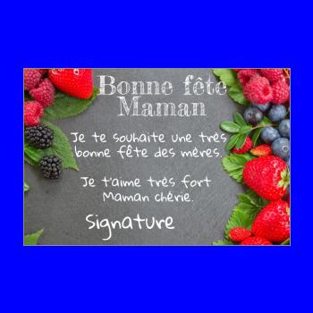 carte maman fete fruit rouge fraise ardoise framboise