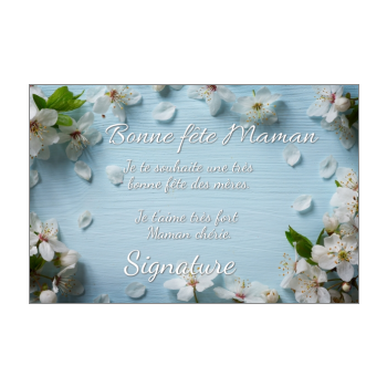 carte maman fleur fete bois bleu blanc