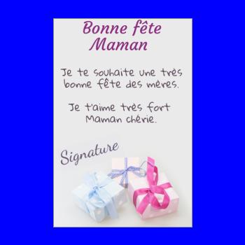 carte cadeau maman fete rose bleu
