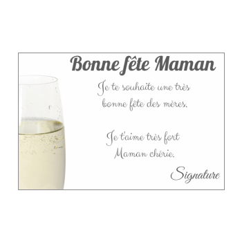 carte maman champagne fete blanc elegant alcool
