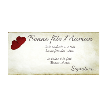 carte maman fete coeur jaune rouge