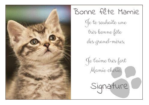 Carte grand mere fete chat marron gratuit imprimer carte 1555 - Carte bonne fete mamie a imprimer ...