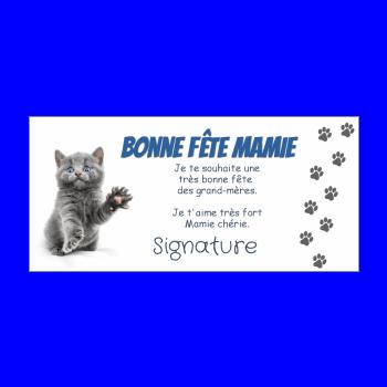 carte grand mere fete chat bleu gris animaux
