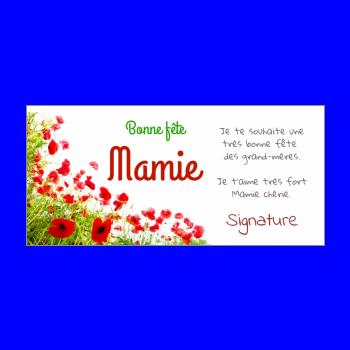 carte grand mere fleur fete vert rouge