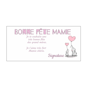 carte grand mere fete coeur rose animaux