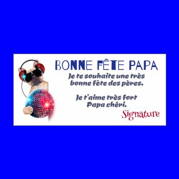 carte papa fete chien humour musique bleu rouge