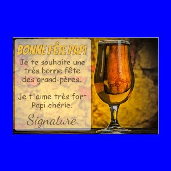 carte grand pere biere fete jaune marron alcool