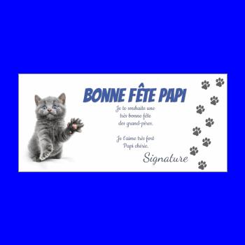 carte grand pere fete chat gris