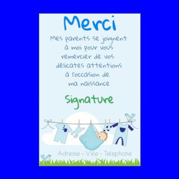 Carte De Remerciement Pour Une Naissance A Imprimer