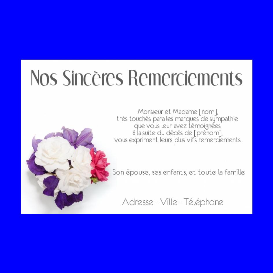 Carte Remerciement Deces Condoleances Fleur Merci Gratuit A Imprimer Carte 2675
