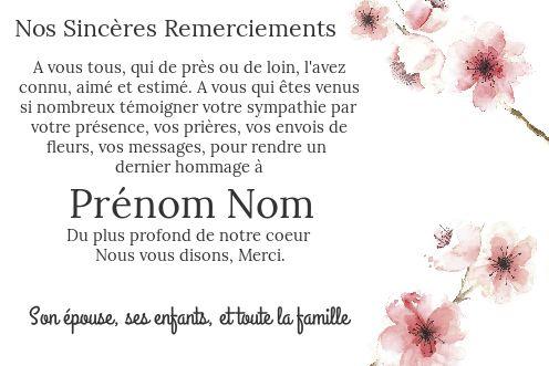 Carte Remerciement Deces Condoleances Fleur Rose Gratuit à