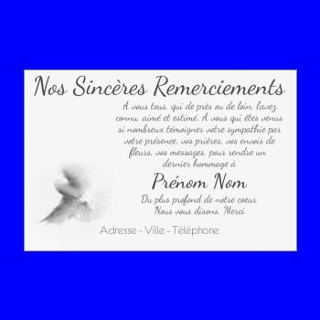 Carte Remerciement Deces Condoleances Oiseau Merci Blanc