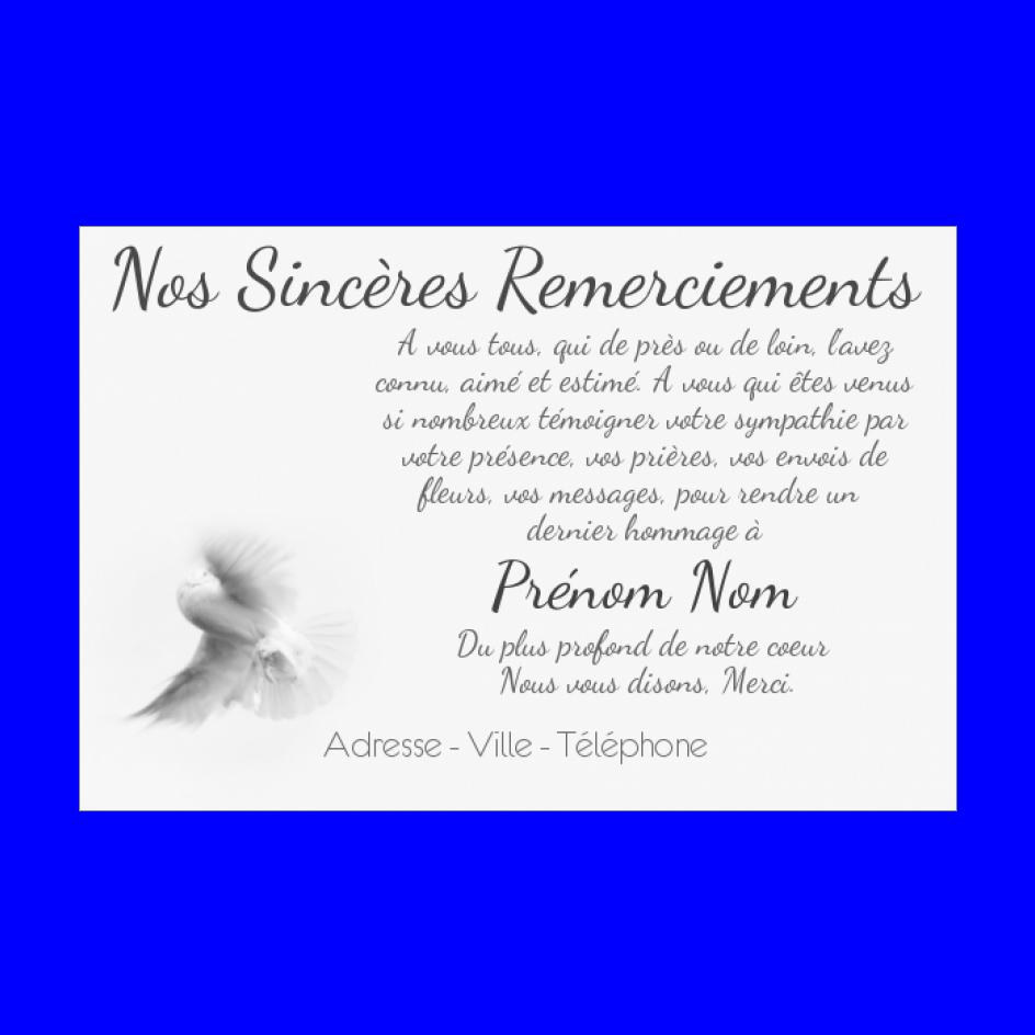 Carte Remerciement Deces Condoleances Oiseau Merci Gratuit A Imprimer Carte 2403