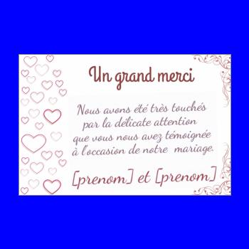 carte de remerciement mariage gratuite à imprimer Carte de remerciement pour un mariage à imprimer gratuit
