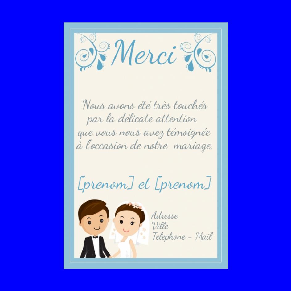 Carte Remerciement Mariage Bleu Merci Jaune Gratuit A Imprimer Carte 2302