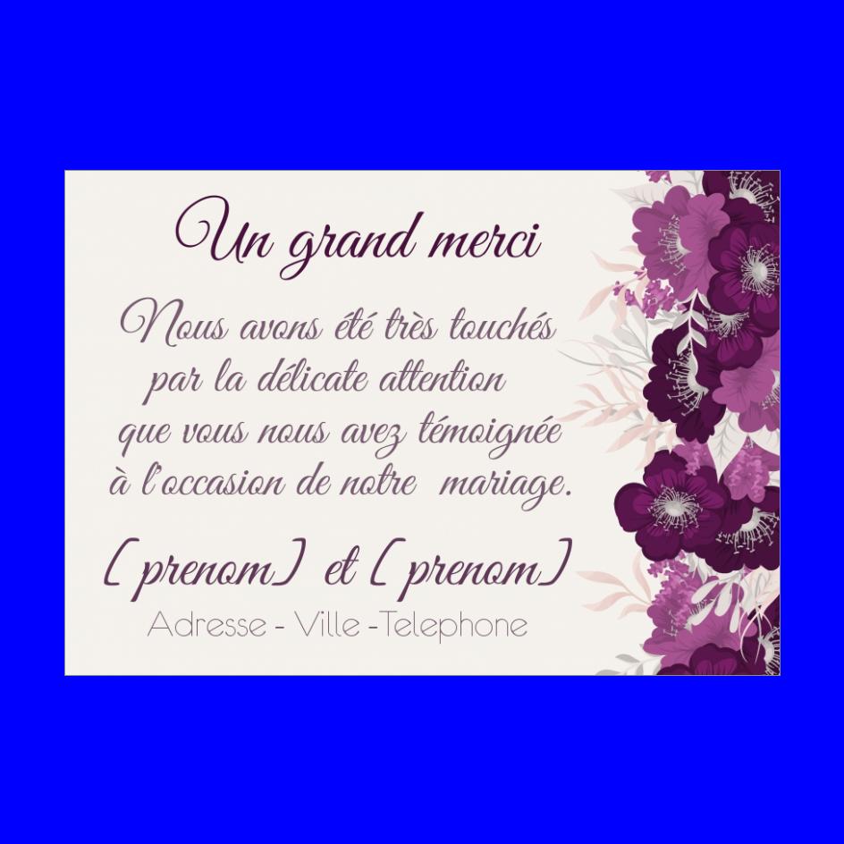 Carte Remerciement Mariage Fleur Merci Mauve Gratuit A Imprimer Carte 2711
