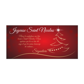 carte voeux joyeux saint nicolas rouge sapin