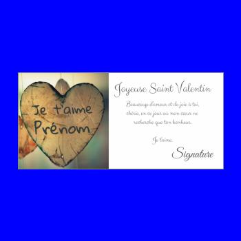 carte voeux saint valentin coeur bois vert marron