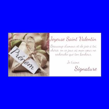 carte voeux saint valentin coeur rose mauve