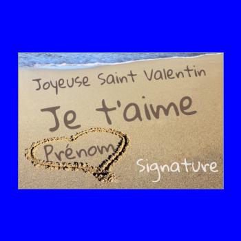 carte voeux saint valentin coeur plage mer