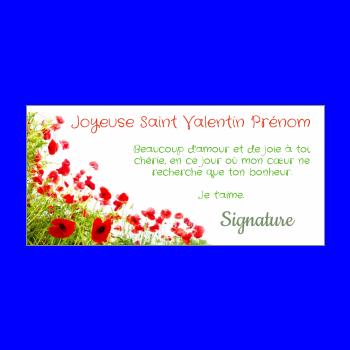 carte voeux fleur saint valentin vert rouge