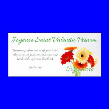 carte voeux fleur saint valentin jaune rouge orange