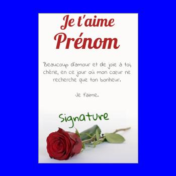carte voeux fleur saint valentin rose rouge
