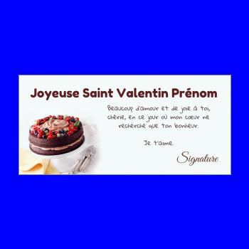 carte voeux saint valentin gateau chocolat marron