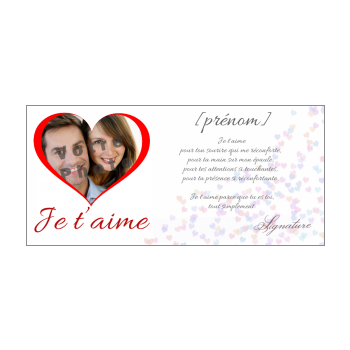 carte voeux coeur amour rouge blanc