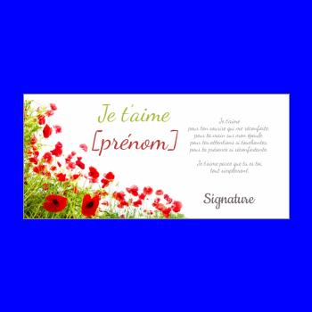 carte voeux fleur amour vert rouge