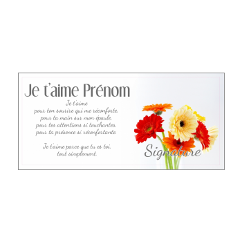 carte voeux fleur amour jaune rouge orange