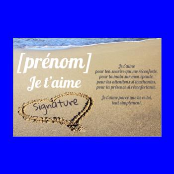 carte voeux coeur amour plage marron mer