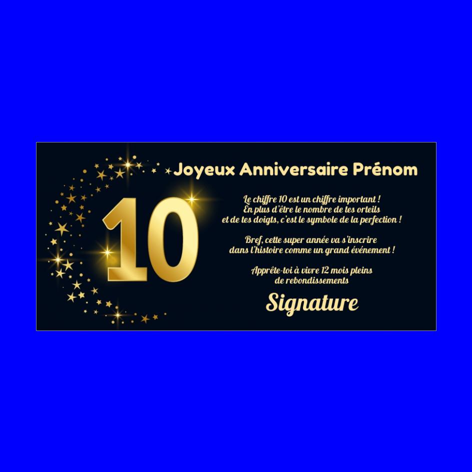Carte Joyeux Anniversaire 10 Ans Doree Gratuit A Imprimer Carte 3450