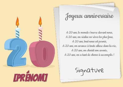 Carte Joyeux Anniversaire 20 Ans Dessin Gratuit A Imprimer Carte 3465