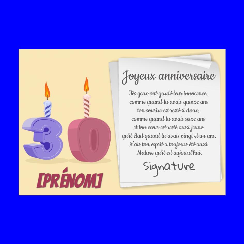 Carte Joyeux Anniversaire 30 Ans Bougie Gratuit A Imprimer Carte 3467