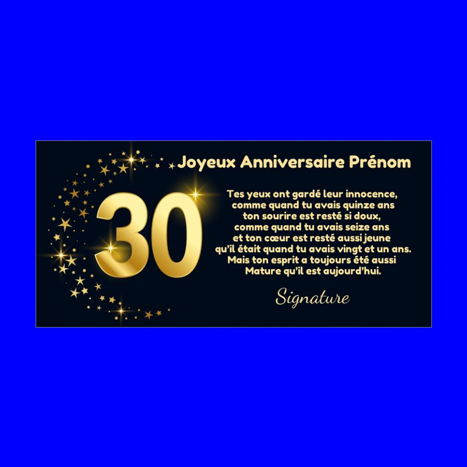 Carte Joyeux Anniversaire 30 Ans Doree Gratuit A Imprimer Carte 3455