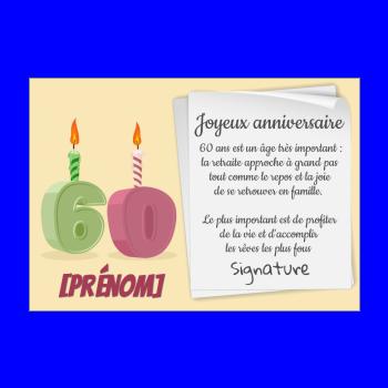 Carte D Anniversaire Pour 60 Ans A Imprimer Gratuit Ou Envoyer Par Carte Virtuelle