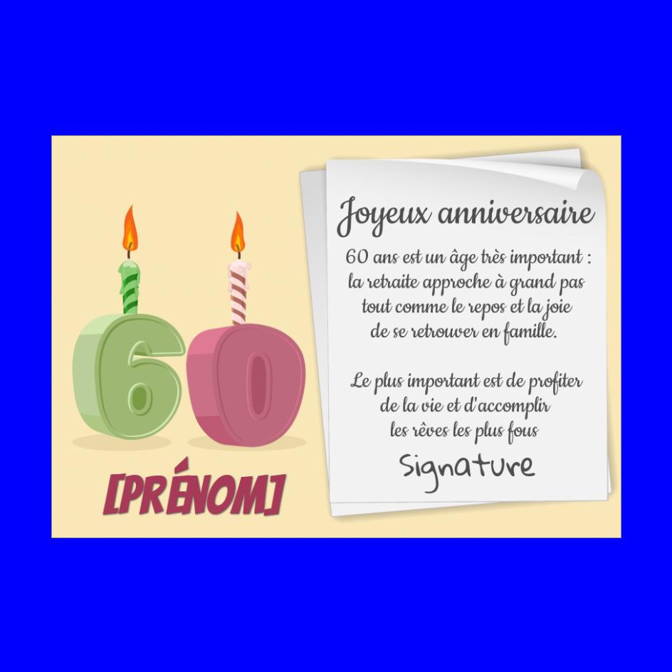 Carte Joyeux Anniversaire 60 Ans Bougie Gratuit A Imprimer Carte 3473