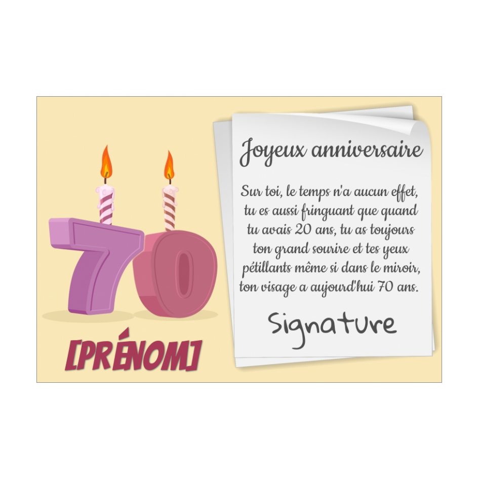 Carte Joyeux Anniversaire 70 Ans Bougie Gratuit A Imprimer Carte 3475