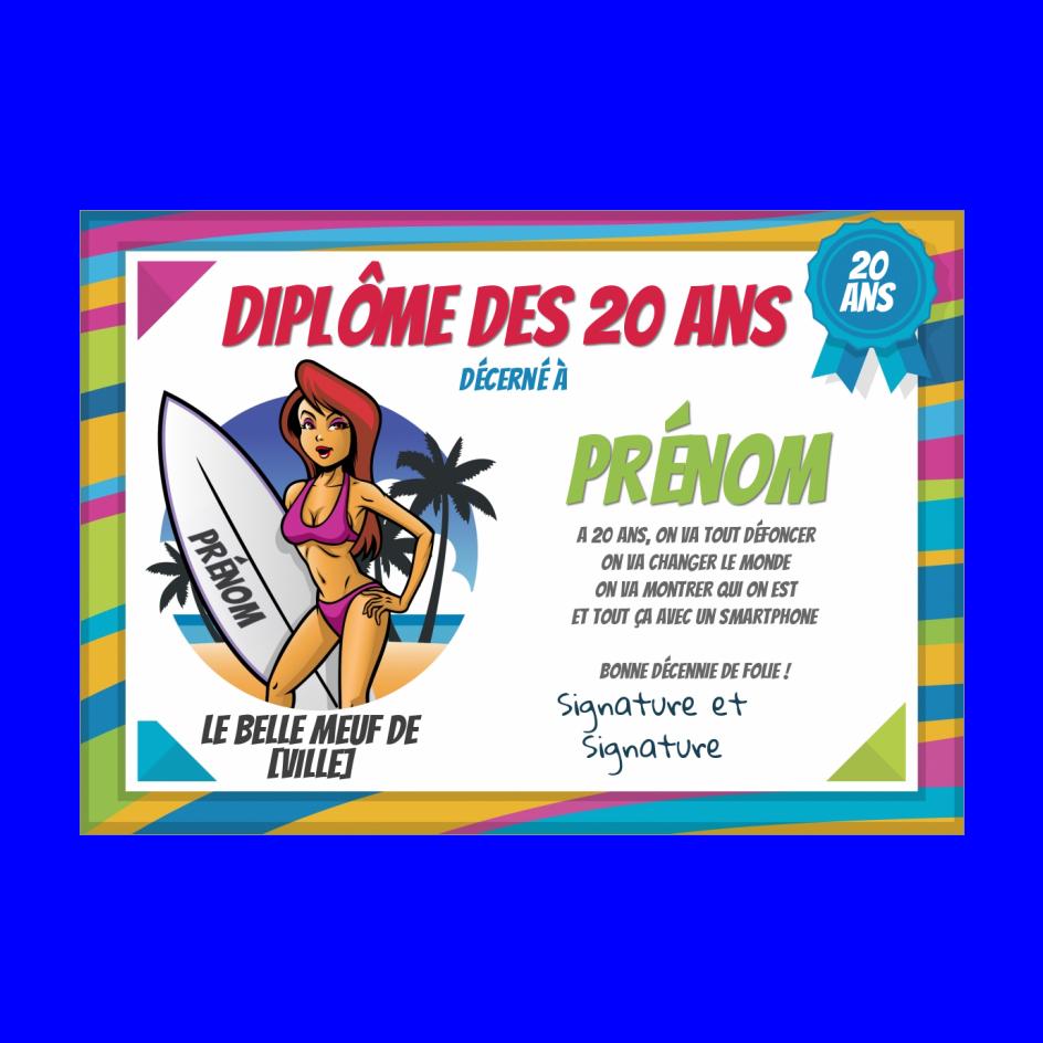 Carte Diplome Anniversaire 20 Ans Humour A Imprimer Carte 3242