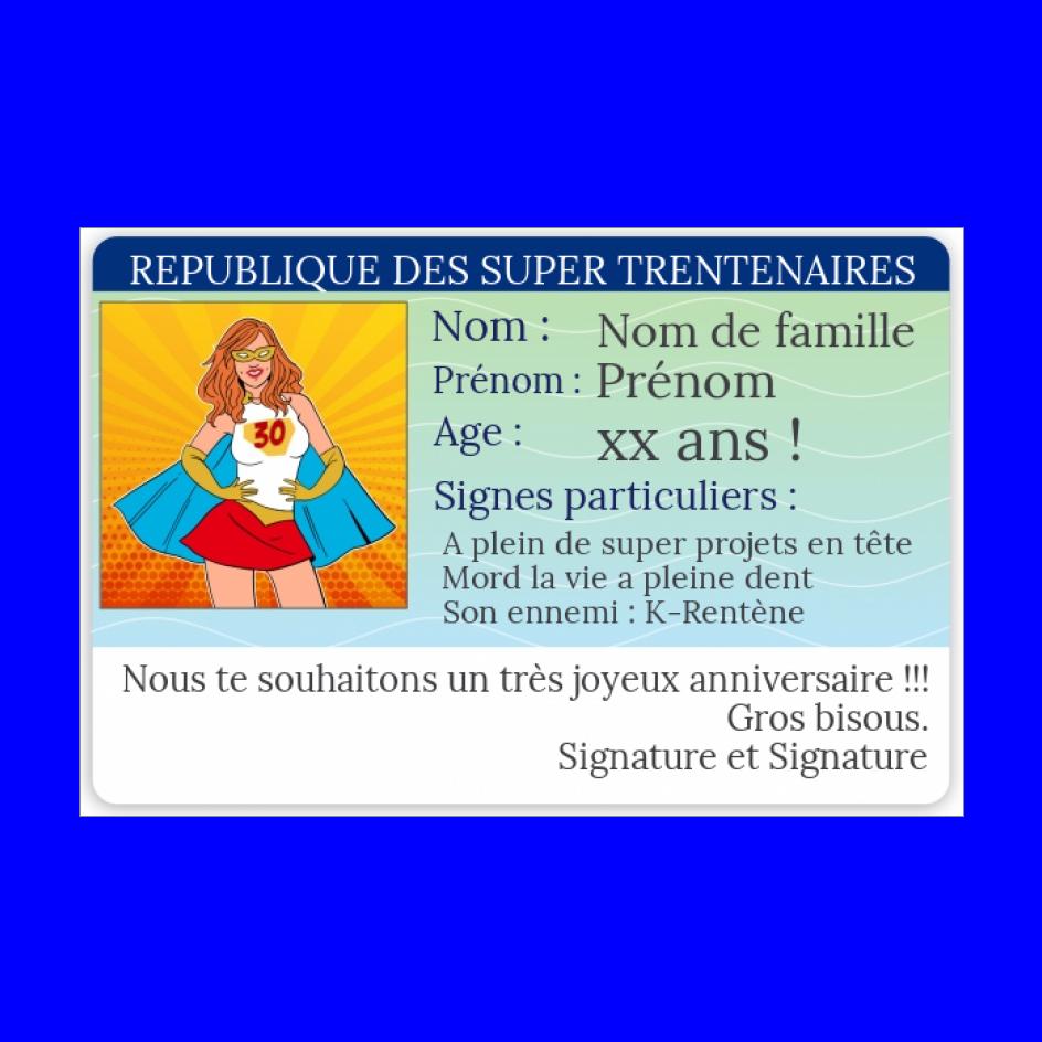 Carte Anniversaire Carte Identite 30 Ans Gratuit A Imprimer Carte 3275