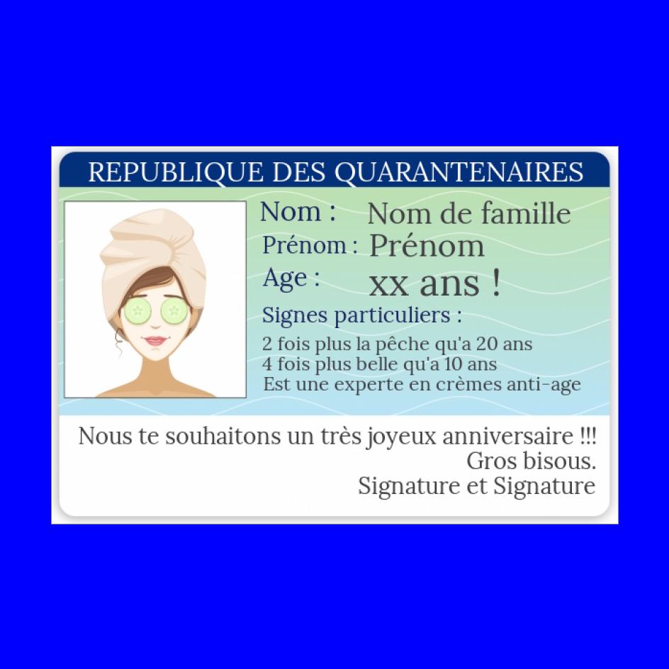 Carte Anniversaire Carte Identite 40 Ans Gratuit A Imprimer Carte 3282