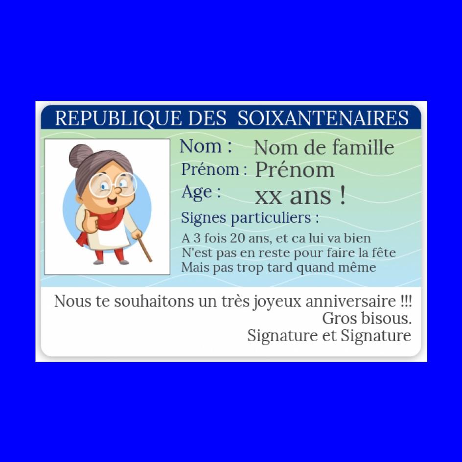 Carte Anniversaire Carte Identite 60 Ans Gratuit A Imprimer Carte 3284